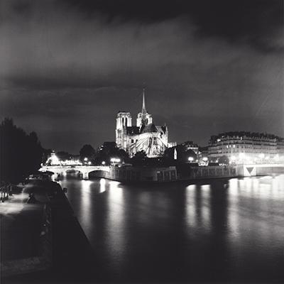 Analog photopraphy b&w wetprint Notre Dame Paris